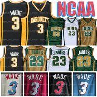 jerseys altos al por mayor-NCAA Marquette College 3 Jerseys Dwyane Wade jersey 23 LeBron Jersey james St. Vincent-St. Mary high school college baloncesto envío rápido