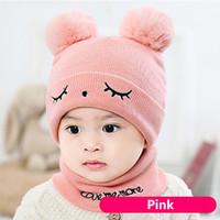 Wholesale baby hat scarf pink resale online - 2Pcs Baby Hat Scarf Set Bear Cat Winter Spring Autumn Warm Knit Baby Cap Bonnet Kids Hat Boy Girl Caps Boys Girls Crochet Beanie