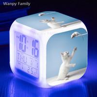 ingrosso grandi orologi a led-Cat and Mouse Sveglia 7 colori luminosi LED Grande schermo Orologio digitale Cameretta multifunzione Touch Sensing Luminoso