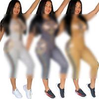 Wholesale casuals clothing women resale online - Women Clothing Print Trcksuit Summer Short Sleeves Two Pieces Sets Fashion Letter Top T Shirt leggings Pants Suit Casual Sportswear C71706