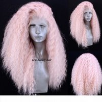 Wholesale synthetic white curly long wig for sale - Group buy Free Part High Temperature Fiber Long Curly lace wig Pink Synthetic Lace Front Wig For black white Women Cosplay