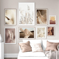 ingrosso fiori di piante di paesaggio-Wall Art Canvas Painting Girl Wheat Flower Leaf Plant Nordic Poster and Print Landscape Wall Picture Living Room Decoration