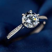feuer rote edelsteine großhandel-S925 Sterling Silber Ring weiblichen koreanischen einfachen Zirkonium Handschmuck Simulation Diamant Ring Mädchen Mode Vorschlag Ring