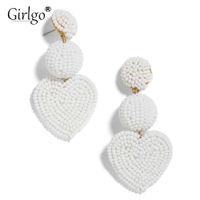 ingrosso orecchini del merletto dell'oro nero-Girlgo Boho Fashion Love Heart Orecchini a goccia fatti a mano per le donne Gioielli di tendenza