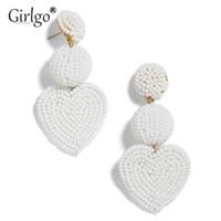 ingrosso orecchini etnici di moda fatti a mano-Girlgo Boho Fashion Love Heart Orecchini a goccia fatti a mano per le donne Gioielli di tendenza