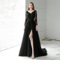 40c5042562d5 2018 sexy backless abiti da sera in pizzo nero sweep treno maniche a 3 4  divise abiti da ballo scollo av perline donne abito formale prom