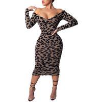leopar desenli elbise kolları toptan satış-Parti Leopar Kapalı Baskı Omuz V Yaka Uzun Kollu Seksi Kadınlar BODYCON Elbise 2019