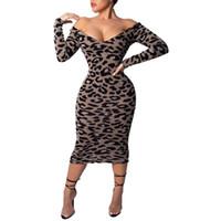vestidos de casamento manga comprida venda por atacado-Partido do leopardo Alças Pescoço V manga comprida Sexy Mulheres Bodycon Vestido 2019