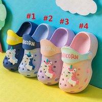 Wholesale fashion cartoon slippers for sale - Group buy Boys Girls Summer Fashion Flat Sandals Children s Cartoon Unicorn Cave Shoes Antiskid Baby Slippers Beach Flip Flops Kids outdoor D62207