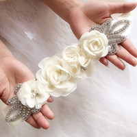 Wholesale white flower sash belt for sale - Group buy Wedding Sashes Chiffon Flowers Bridal Belt Rhinestone Dress Bridal Accessories Belt White Ivory Black Red Silver In Stock Bulk Orders