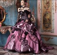 uzun pembe straplez elbiseler toptan satış-2019 Vintage Gotik Victorian Cadılar Bayramı Siyah ve Pembe Dantel Artı Boyutu Balo Gelinlik Gelin Törenlerinde Straplez Uzun Kollu