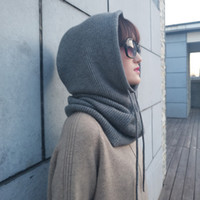 Wholesale skull neck scarf for sale - Group buy Fashion Women Multifunction Scarf Hat Cashmere Wool Knitted Even The Neck Hats Winter Soft Warm Solid Color Head Cap Female