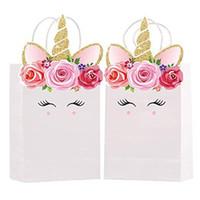 ingrosso festa di compleanno trattare i sacchetti-Unicorno Mermaid Tail Paper Gift Bags Designer Handbag Candy Treat Box per favore Evento Baby Shower Birthday School Party Supplies A51701
