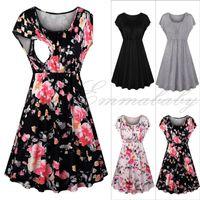 hamile kadınlar için sıcak elbiseler toptan satış-Sıcak Annelik Elbiseler Çiçek Katı Kısa Kollu Ruffles O-Boyun Yaz Moda Hemşirelik Emzirme Giysi Hamile Kadınlar Için