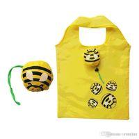sacolas de compras dobráveis reutilizáveis venda por atacado-Veratian Animal Dobrável Saco de Compras Eco Friendly Presente Das Senhoras Sacola Reutilizável Dobrável Viagem Portátil Bolsa de Ombro abelha