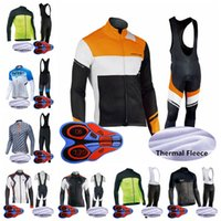 Wholesale warm long sleeve cycling jersey resale online - NW team Cycling Winter Thermal Fleece jersey bib pants sets men winter long sleeve bib pants keep warm outdoor sports jersey sets S91816