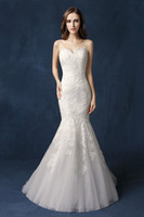 Wholesale sexy sweet wedding dresses resale online - Vintage Strapless Mermaid Wedding Dresses Sweet heart Neck Luxury Lace Bridal Gowns Saudi Arabic Dubai Vestido De Novia SW077 In Stock