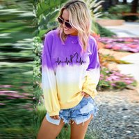 Wholesale girls cat outfit resale online - 8styles Girls Cats Rainbow Gradient Sweatshirts Long Sleeves Crew Neck Pullover Tops Tee Loose t shirt Tie Dye outdooor Sweater Outfit