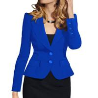 blazers formais para o trabalho venda por atacado-Senhoras Blazer Mulher Botão de Desgaste do Trabalho Terno Jaqueta Feminina Senhora do Escritório Formal Mulheres Blazers e Jaquetas Blazer Feminino
