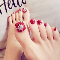 Wholesale decor full for sale - Group buy New Nail Art Cute Full Cover French D Fake False Toe Nails Tips Decor DIY