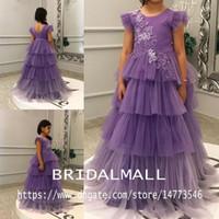 desfile infantil vestidos morados al por mayor-Vestidos de desfile de tul con apliques púrpuras 2020 Faldas con gradas preciosas Vestido de niña de flores para bodas Vestidos de fiesta formales de cumpleaños para niños