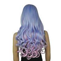 фиолетовый синий парик микс оптовых-Женские парики Косплей Костюм Вечеринка Аккуратный взрыв Длинный волнистый синий, фиолетовый, розовый Выделите смешанный цвет Полностью синтетический парик
