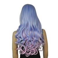 lila blaue mischperücke großhandel-Frauen Perücken Cosplay Kostüm Party Ordentlich Bang Lange Wellenförmige Blau, Lila, Rosa Highlight Mischfarbe Vollsynthetische Perücke