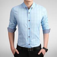 ingrosso camicie casual vestiti dei ragazzi-Zogaa Dress Shirt Men Slim Fit Style Boys Casual Shirt Uomo manica lunga griglia plaid in cotone Classic Designer di marca vestiti hawaiani
