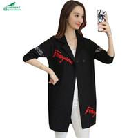 mulheres casam a moda coreana venda por atacado-OKXGNZ Primavera Mulheres Vestuário 2,019 Coreia do New Fashion Big Yards Lazer Brasão tricô Cardigan Médio Longo Suit Brasão QQ113 SH190929