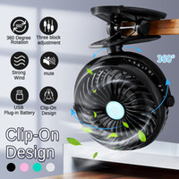 Wholesale usb clip fan resale online - Portable Mini USB Charging Noiseless Desktop Electric Fan Small Compact Desk Table Clip Mute Fans Speed
