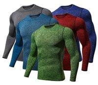 tops rápidos venda por atacado-Tops Mens Compression Tshirts Primavera Outono New Slim Fit Quick Dry fitness