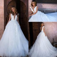Wholesale wedding plus tulle dresses for sale - Group buy Glamorous V Neck Cap Sleeves A Line Wedding Dresses Long Lace Appliques Bridal Gowns Plus Size