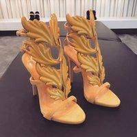 kaplanmış kadın topuklu toptan satış-2019 Seksi Bling Rhinestone Açı Kanat yüksek topuklu sandalet kadınlar Parlak Deri Gelin Altın Kaplama Kanatlı gladyatör sandalet womens