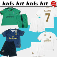 Wholesale jersey soccer children resale online - 2019 Kids Kit Real Madrid soccer Jerseys HAZARD BENZEMA Boy Soccer shirts Child set customized football uniforms pants