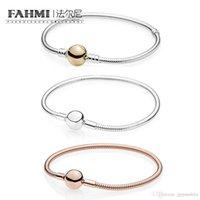 perlen rosa armband großhandel-FAHMI 100% 925 Sterling Silber Classic Basic ROSE MOMENTS GLATTE ARMBAND 14K Gold Classic Kette Armband Fit DIY Perlen Charme