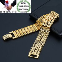Wholesale wide watch fashion resale online - OMHXFC European Fashion Man Male Party Birthday Wedding Gift Elegant Wide Watch KT Gold Bracelets BE269