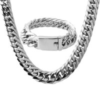 qualität gold ton schmuck großhandel-Hohe Qualität Herren Halskette Armband Schmuck Set 16mm 316L Edelstahl Kette Silber Ton Curb Cuban Link