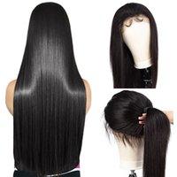 insan saçı dantel ön moğol toptan satış-Dantel Ön Peruk 150% Yoğunluk Düz 360 Frontal Dantel İnsan Saç Peruk Siyah Kadınlar Için Moğol Remy Ön Koparıp