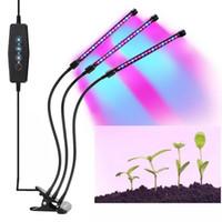 ingrosso azzurro testa blu principale-LumiParty LED 5V 27W USB Grow Lampadina con spettro rosso blu regolabile 3-Head Timer Grow Lampada per piante da interno