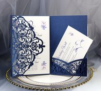 gelin davet kağıtları toptan satış-Yüksek Kaliteli Lacivert Hollow Lazer Kesim Düğün Gelin Davetiye Kartları Özelleştirilmiş Parti Davetiyeleri Kart Festivali Tebrik Kartları