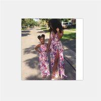 elbise ebadı 7t toptan satış-Çiçek Kız Kadınlar Yarık Elbise Yaz Plaj Maxi Anne Kızı Elbiseler Aile Eşleştirme Giyim Kıyafet Aile Bak Büyük Boy Kayma Elbise