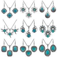asiatische türkis schmuck großhandel-Neu 27 Designs Modeschmuckset Türkis Elefant Eulen-Herz-Ohrring-Halskette für Frauen-böhmischer Weinlese-Halsketten-Geschenk
