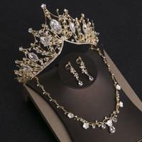 princesa adulta corona al por mayor-Cristal coreano princesa corona novia corona aretes collar conjunto cumpleaños banquete regalo para adultos sombreros