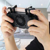 controlador de carga de energía al por mayor-1 unids 4 En 1 Ventilador de Enfriamiento Manija de Carga Gamepad Joystick Holder Controlador de Juego Banco de Potencia para el Teléfono Móvil Para PUBG