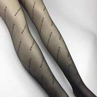 meias sexy damas pretas venda por atacado-Meias Menina Sexy Preto Verão Suave Carta Impressa Mulheres Calças Justas Sexy Night Club Party Senhora Meias