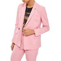 roupas de negócio rosa para mulheres venda por atacado-Rosa Ocasional Das Mulheres Ternos de Negócio Formais 2 Peças Conjuntos Dupla Breasted Fino Escritório Feminino Uniforme Estilos Senhoras Elegantes Pant Ternos