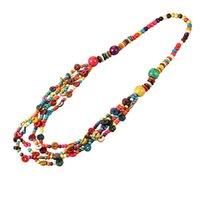 Statement Long Large Black White Beaded Tube Tribal Multi Layered Necklace Uk