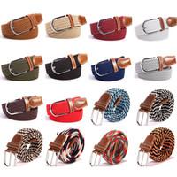 Wholesale stretch woven belt resale online - Fashion Unisex Elastic Stretch Belt Colors Women Casual Braided Waistband Creative Mens Woven Canvas Pin Buckle Belt TTA1061