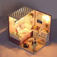 ingrosso ornamenti in miniatura-Fai da te in miniatura casa di bambola mobili fai-da-te miniatura coperchio della polvere di controllo vocale in miniatura in miniatura casa di bambola giocattolo di montaggio ornamenti Kit