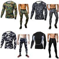 компрессионный бег оптовых-Men's Compression Run jogging Suits Clothes Sports Set Long t shirt And Pants Gym Fitness workout Tights clothing